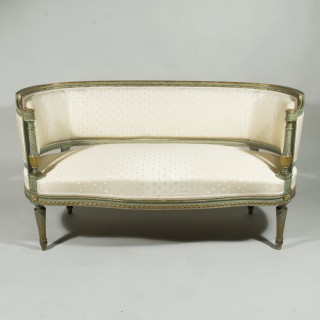 A Late 19th Century Painted and Gilded French Canape