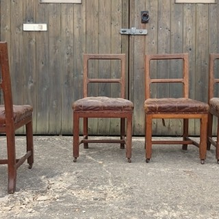 Antique Leather And Oak Arts And Crafts Dining Chairs