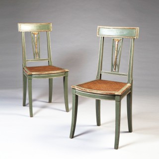 A FINE PAIR OF ITALIAN PAINTED AND GILT SIDE CHAIRS