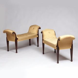 Pair of George III Mahogany Window Seats