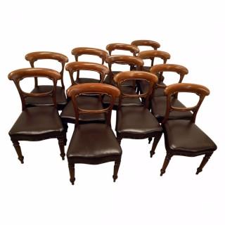 Set of 12 Scottish Victorian Mahogany Dining Chairs