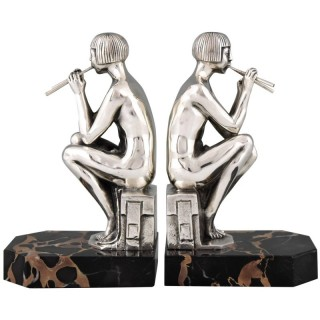 Art Deco silvered bronze nude bookends.