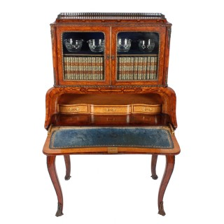 Kingwood & Walnut Bombé Shaped Bureau