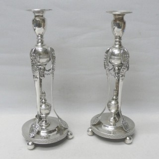 Antique German Silver Candlesticks