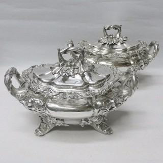 Pair of Antique Silver Sauce Tureens