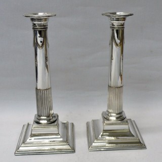 Georgian Corinthian Column Candlesticks in Old Sheffield Plate