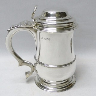 Antique Silver Lidded Tankard