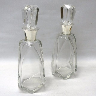 Art Deco Silver and Crystal Decanters
