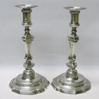 Early Antique French Cast Silver Candlesticks