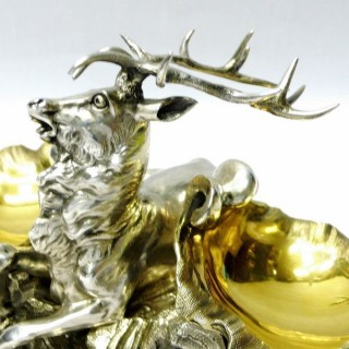 Antique Double Table Salt in the form of a Stag