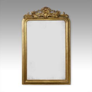 Large gilt overmantel mirror
