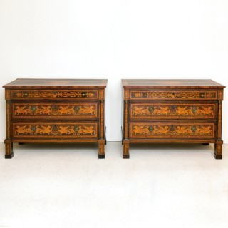 Pair of Northern Italian Marquetry Commodes early 19th century