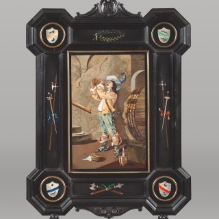A Pair of Antique  Framed Pietra Dura Panels By Evaristo Panducci
