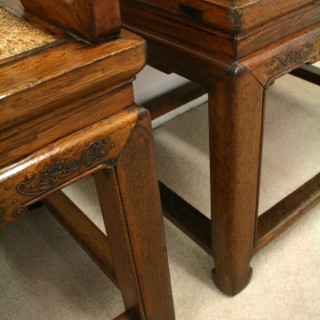 Pair of Chinese Stained Elm Armchairs