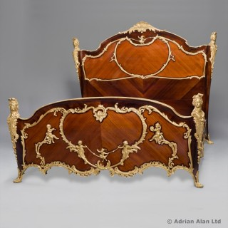 Louis XV Style Gilt-Bronze Mounted Kingwood Bed