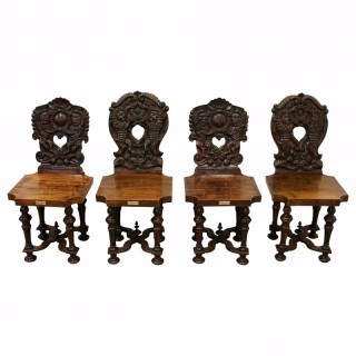Set of 4 Carved Mahogany Hall Chairs