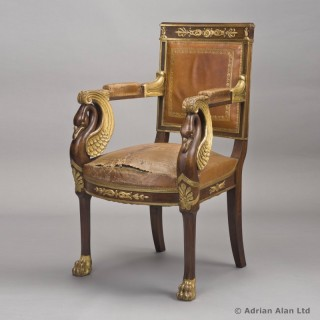 Empire Style Mahogany Parcel-Gilt Fauteuil