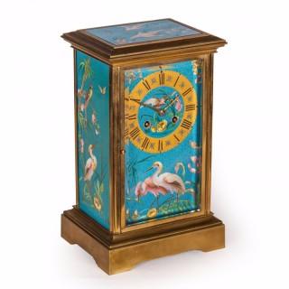 A cloisonne enamel and ormolu mantel clock