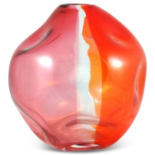 Murano Carnival glass vase with vertical bands of colour by Archimede Seguso (gm930)