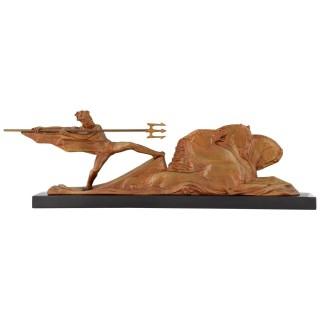 Art Deco bronze Neptune and horses