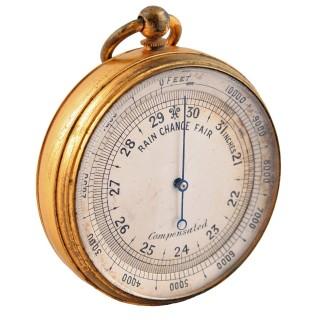 Edwardian Gilt Metal Pocket Barometer