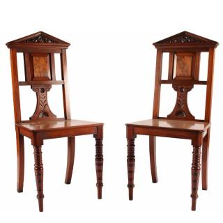 Pair of Walnut Hall Chairs