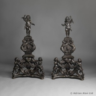 Pair of  Bronze Andirons in The Renaissance Style