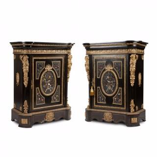 A pair of Napoleon III period hardstone and ormolu mounted ebonised wood cabinet