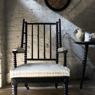 A Sublime William IV Period Ebonised & Bobbin Turned Library Wing Armchair c.1830-40