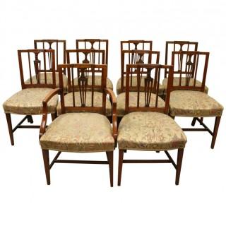 Set of 10 George III Mahogany Dining Chairs