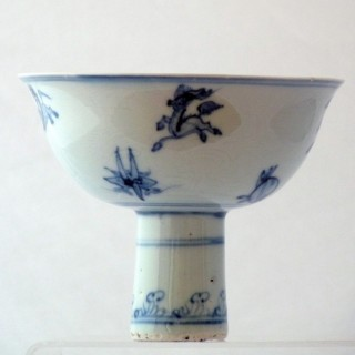 Ming Blue and White stem Cup