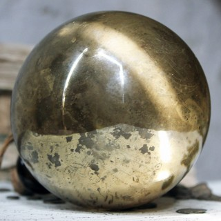 An Early Gold Mercury Glass Witches Ball or Bottle c.1820-50