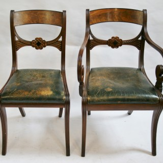 Fine Set of 12 (10 & 2 ) Regency Mahogany Dining Chairs on Sabre Legs