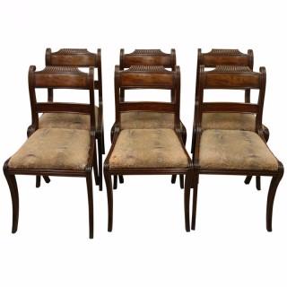 Set of 6 Regency Mahogany Dining Chairs