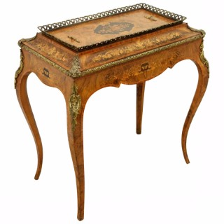 French Marquetry Inlaid Walnut Plant Stand