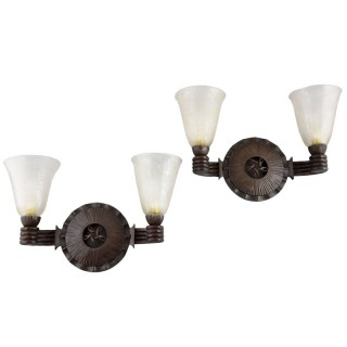 Art Deco wall lights wrought iron and glass