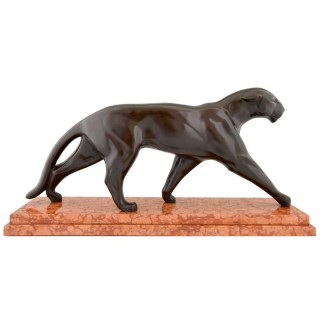 Art Deco bronze sculpture of a walking panther