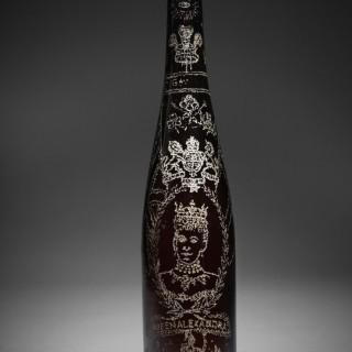 Folk art decorated bottle from Liverpool