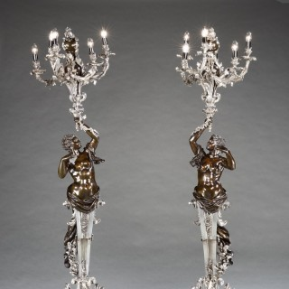 An Important Pair of Antique Torchères in the Louis XV Manner