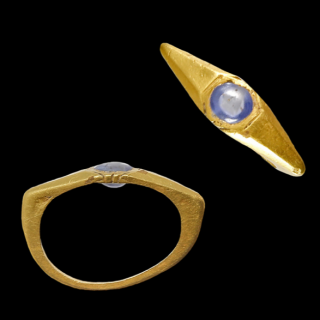 Roman Gold Ring with a Blue Stone