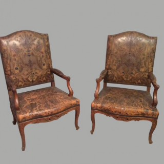 Pair of French  oak library chairs.