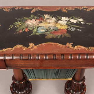 Rare William IV Sewing Table with Slate Top Painted