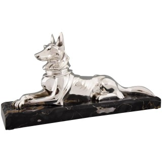 Art Deco silvered bronze sculpture shepherd dog
