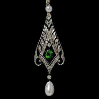 Demantoid Garnet, Pearl & Diamond Pedant