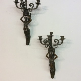 Pair of bronze wall sconces