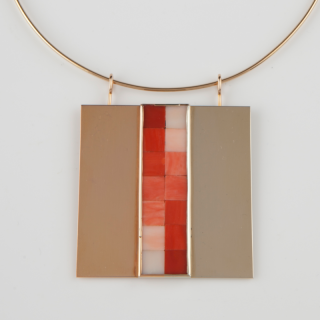 Unique gold and coral mosaic pendant designed by Getulio Alviani, 1974