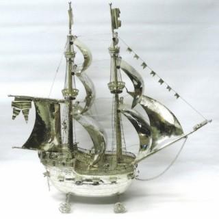 Antique German Silver Neff Sailing Ship