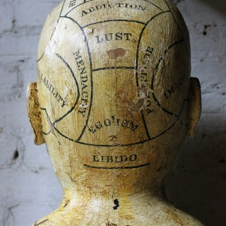 A Scarce & Early Carved & Painted Pine Folk Art Phrenology Head c.1850-60