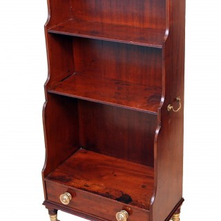 Antique Regency Mahogany Waterfall Open Bookcase