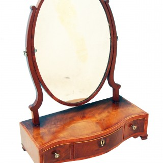 Antique Georgian Mahogany Serpentine Dressing Table Mirror